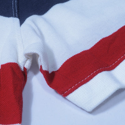 GAP Short Sleeve P.Q Polo Shirt For Men-White-Blue-Red Striped-NA7978
