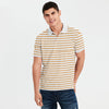 Banana Republic Short Sleeve P.Q Polo Shirt For Men-White & Dark Yellow Stripe -NA7979