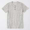 GAP Single Jersey Half Sleeve Henley Tee Shirt For Men-Light Grey Melange-NA8288