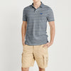 GA Short Sleeve P.Q Polo Shirt For Men-Blue Melange & White Stripe -NA7975