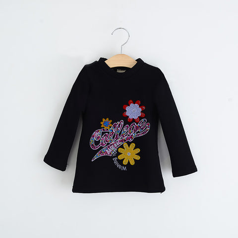 "Girls Top's""A.S' Crew neck Top-Black-(T25)"