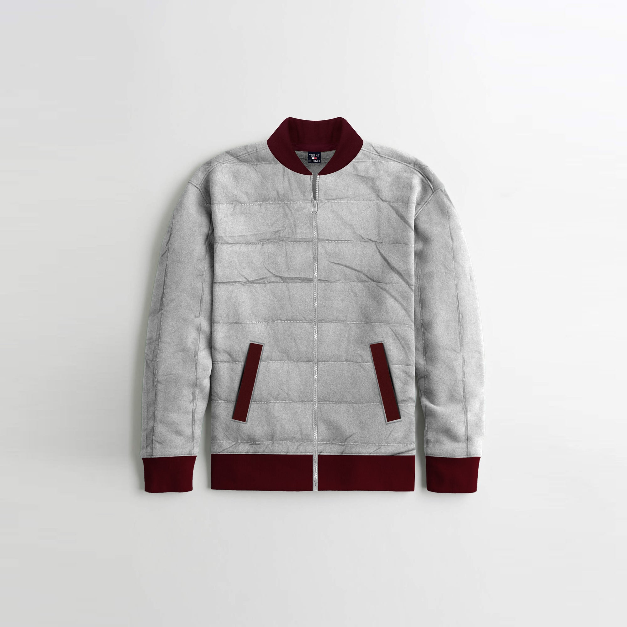 TH Quilted Zipper Baseball Jacket For Kids-Light Grey With Maroon Contrast-NA12122