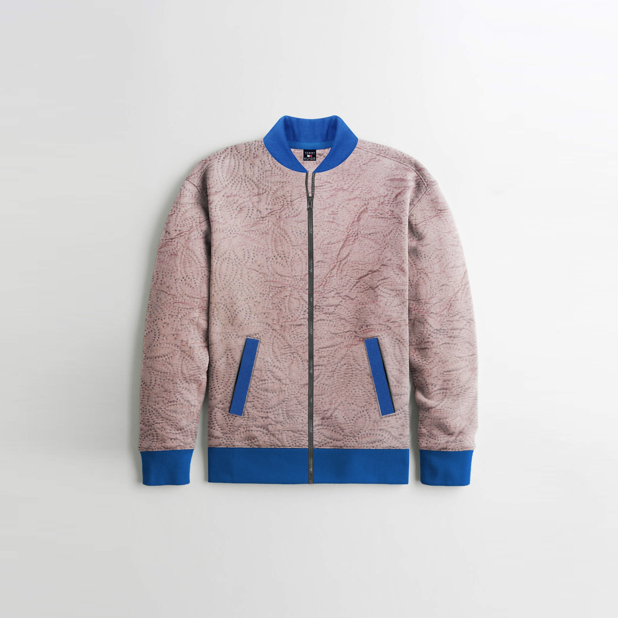 TH Quilted Zipper Baseball Jacket For Kids-Light Pink With Blue Contrast-NA12129