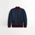 TH Quilted Zipper Baseball Jacket For Kids-Blue Melange With Burgundy Contrast-NA12126