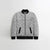 TH Quilted Zipper Baseball Jacket For Kids-Light Grey With Black Contrast-NA12123