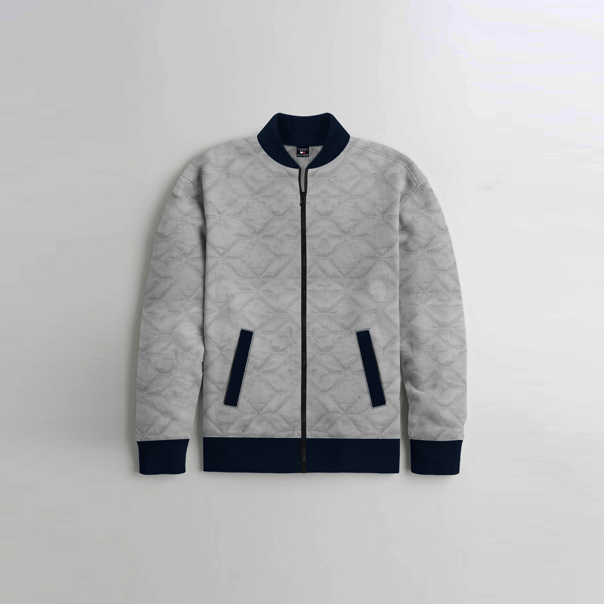 TH Quilted Zipper Baseball Jacket For Kids-Light Grey With Navy Contrast-NA12119