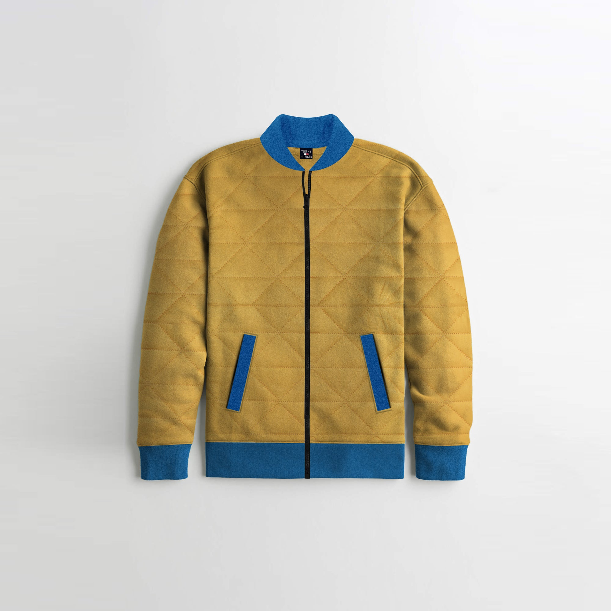TH Quilted Zipper Baseball Jacket For Kids-Yellow & Blue-SP3815
