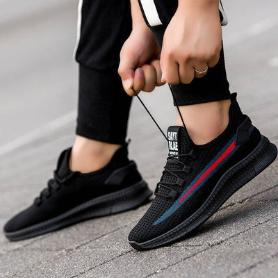 Saytrlae Stylish Sports Lace Up Shoes For Men-Black Red Stripes-NA10827