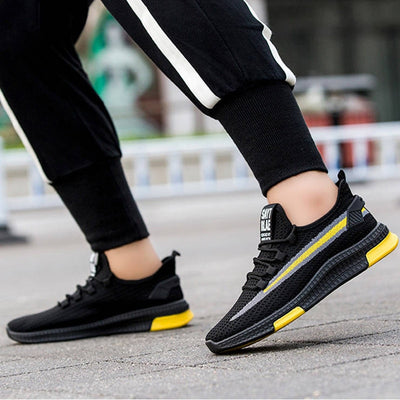 Saytrlae Stylish Sports Lace Up Shoes For Men-Black Yellow Stripes-NA10828