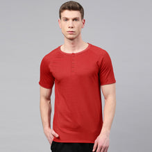 KUKRI Henley T Shirt For Men Cut Label-Red-BE2719