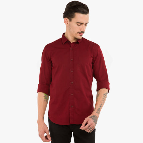 Uneek Full Sleeve Casual Shirt For Men-Dark Burgundy-BE814