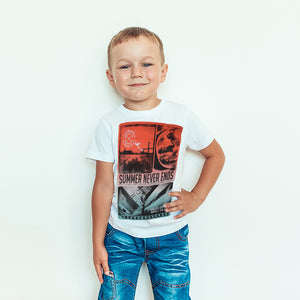 Homstate Single Jersey T Shirt For Kids-White Print-BA000145