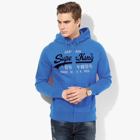 "Men's ""Super King"" Printed Zipper Hoodie-Sky-SKHSK12"