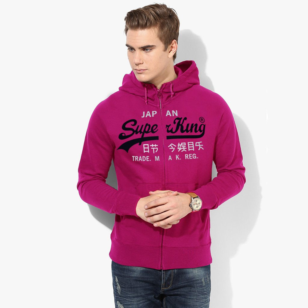 "Men's ""Super King"" Printed Zipper Hoodie-Dark Pink-SKHDPK08"