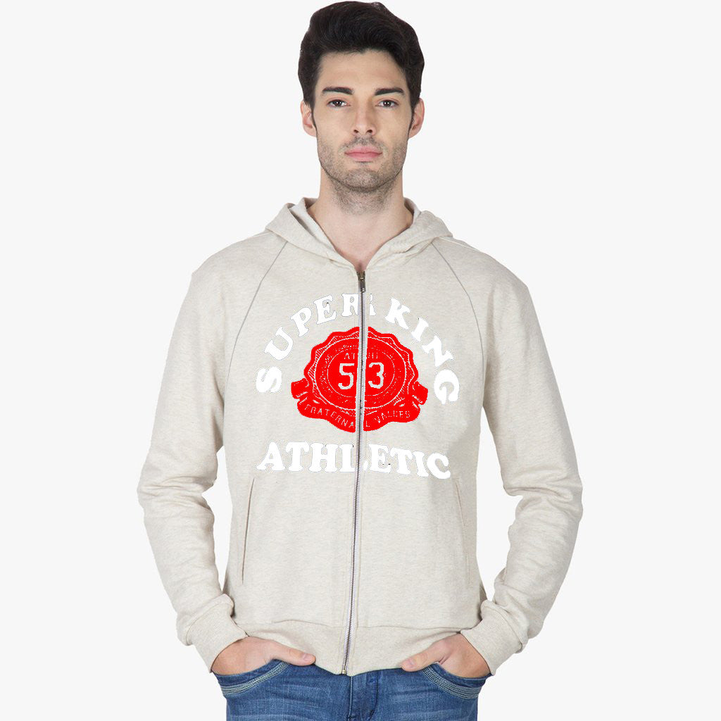 "Men's ""Super King"" Printed Zipper Hoodie-Off White-SKH15"