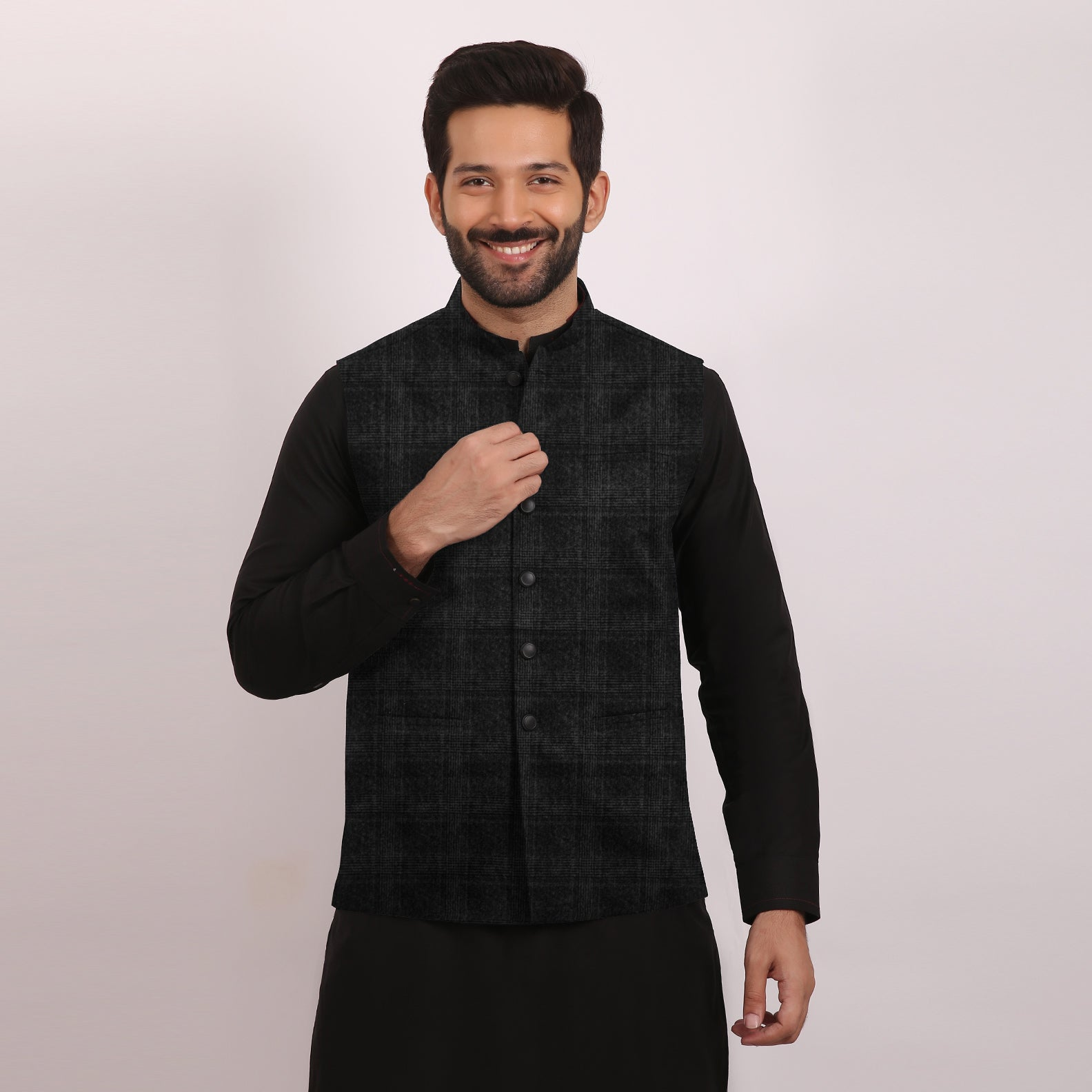 ZM Premium Waistcoat For Men-Charcoal With Pattern-NA12061