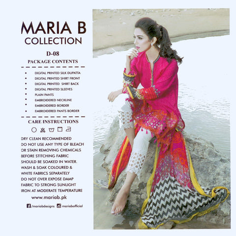 "Ladie's ""Maria.B"" 3 Piece Unstitched Suit-GLA15"