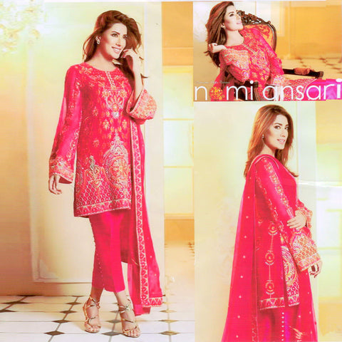 "Ladie's ""Nomi Ansari"" 3 Piece Unstitched Suit-GLA12"