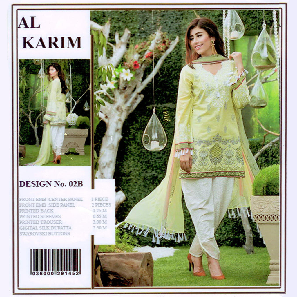 "Ladie's ""Al Karim"" 3 Piece Unstitched Suit-GLA11"