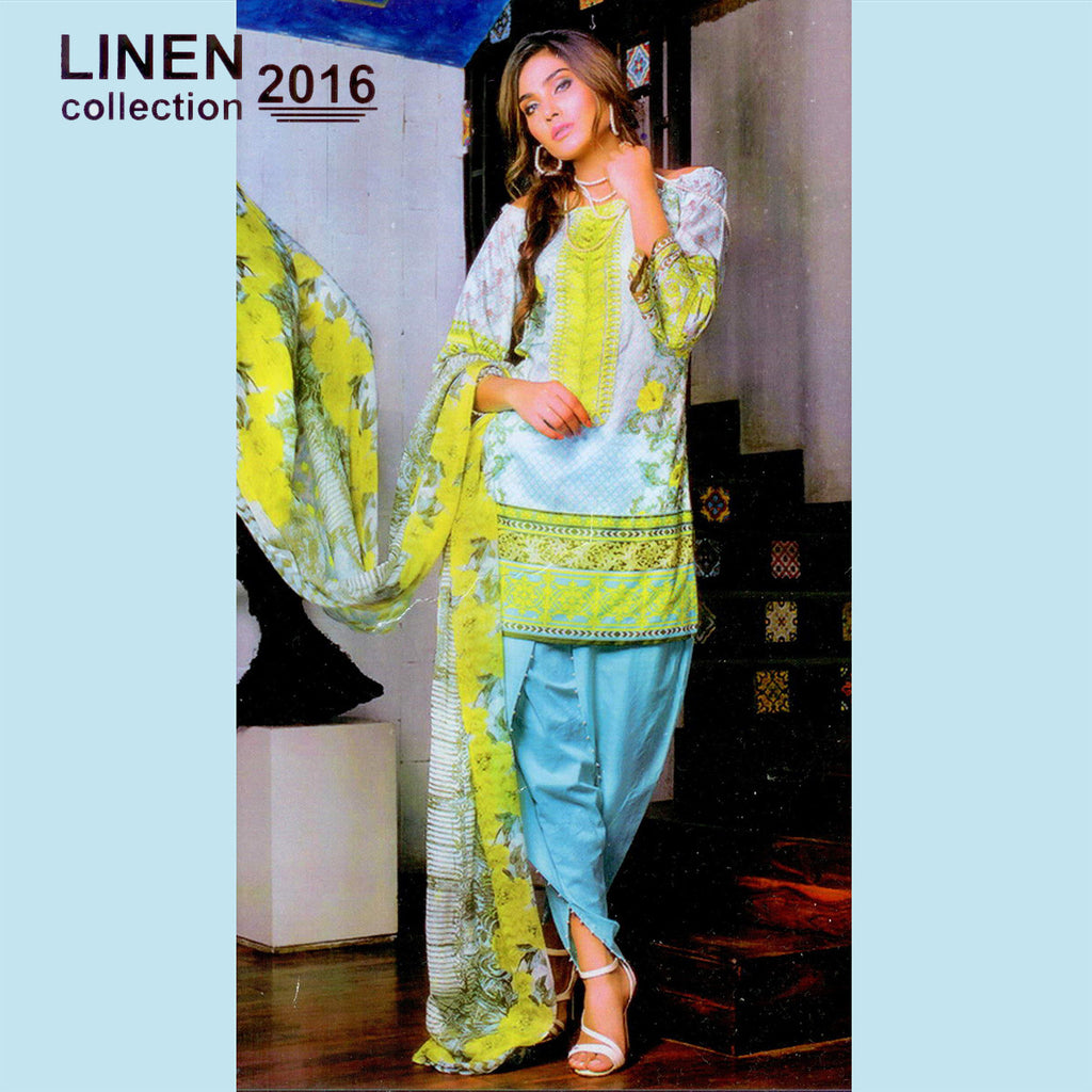 "Ladie's ""Linen Collection"" 3 Piece Unstitched Suit-GLA04"