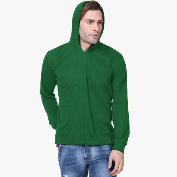 "Men's Cut Label ""Next"" Pull Over Hood-Green-BE404"