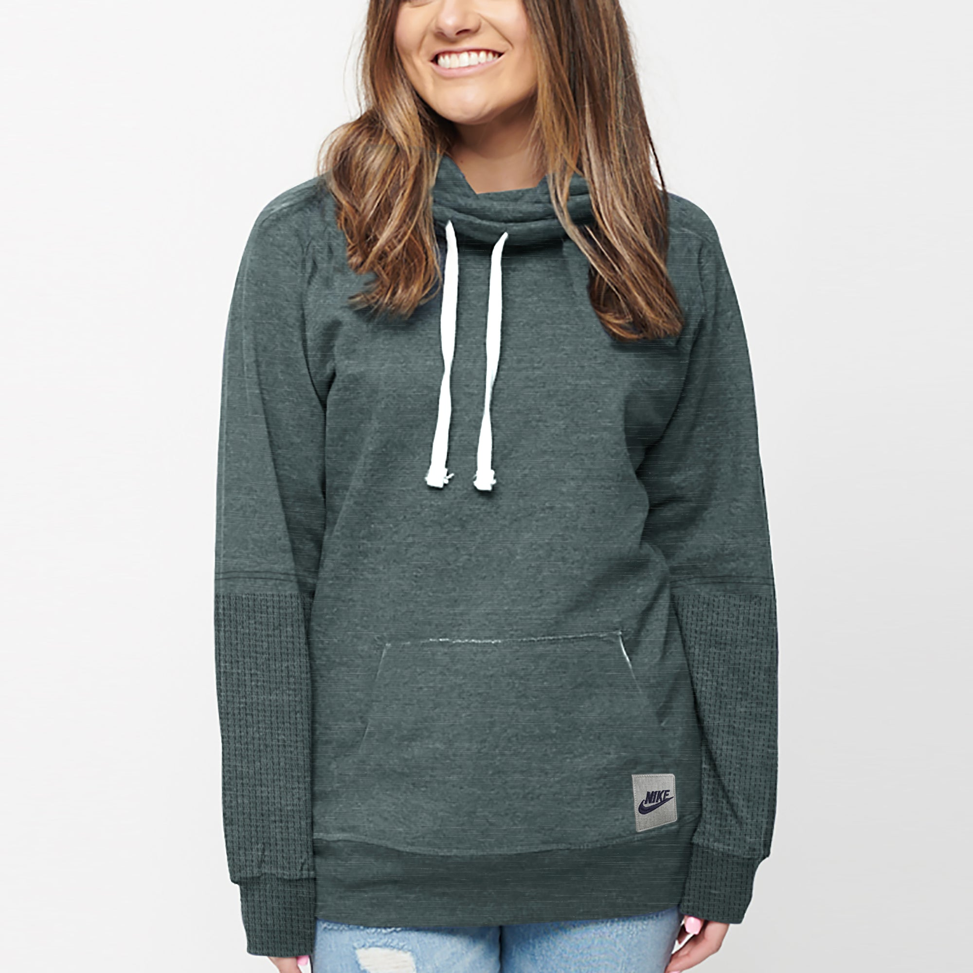 NK Terry Fleece Embroided Pullover High Neck Hoodie For Ladies-Dark Cyan Melange-SP1324