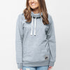 NK Terry Fleece Embroided Pullover High Neck Hoodie For Ladies-Ice Mint-SP1326