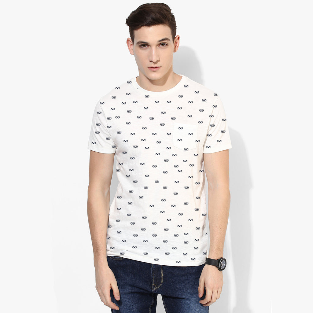 Men's Fat Face Cut Label Crew Neck Tee Shirt -Off White All Over Printed-FF013
