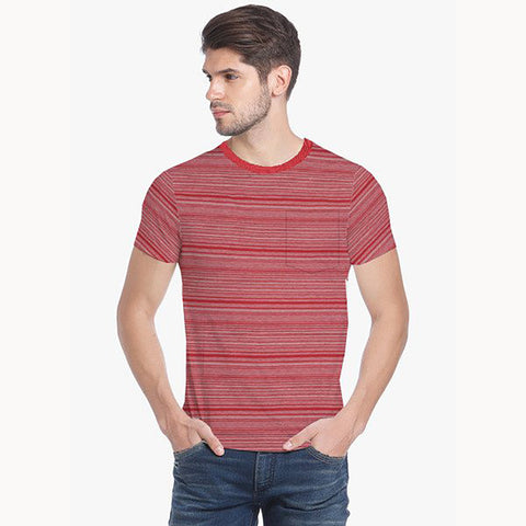Next Half Sleeve Crew Neck T Shirt For Men-Red Striped-BE722