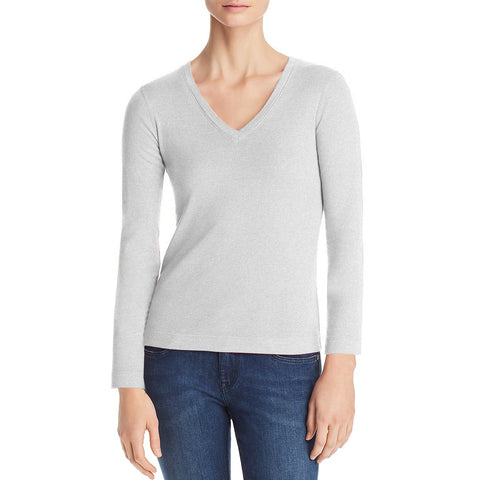 Janina Stretch Long Sleeve V Neck Blouse For Ladies-Light Grey-NA5936