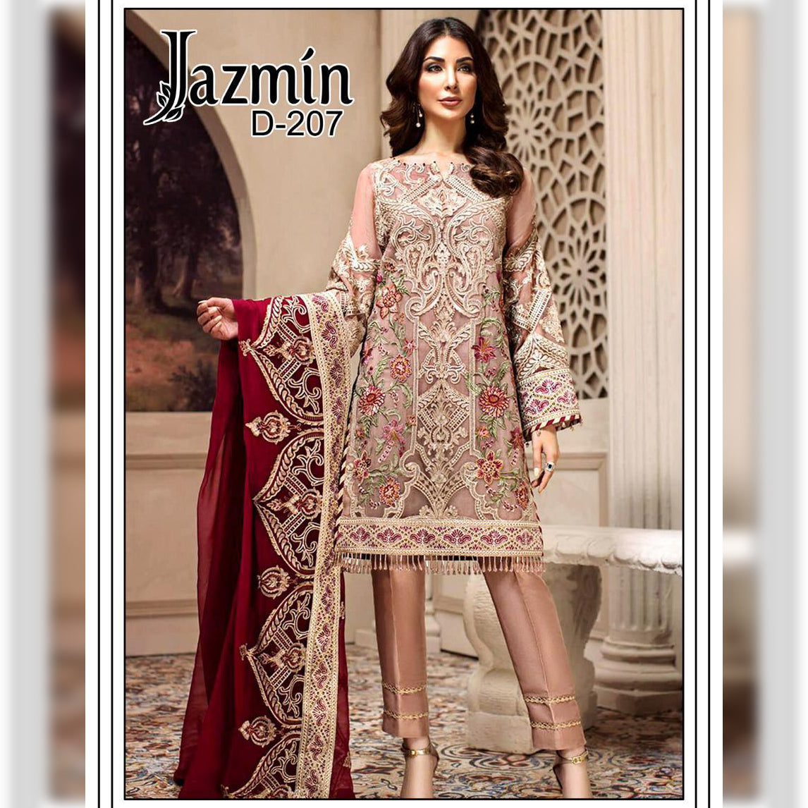 Jazmin Lawn Collection 3 Piece Un-stitch Suit For Ladies-NA9125