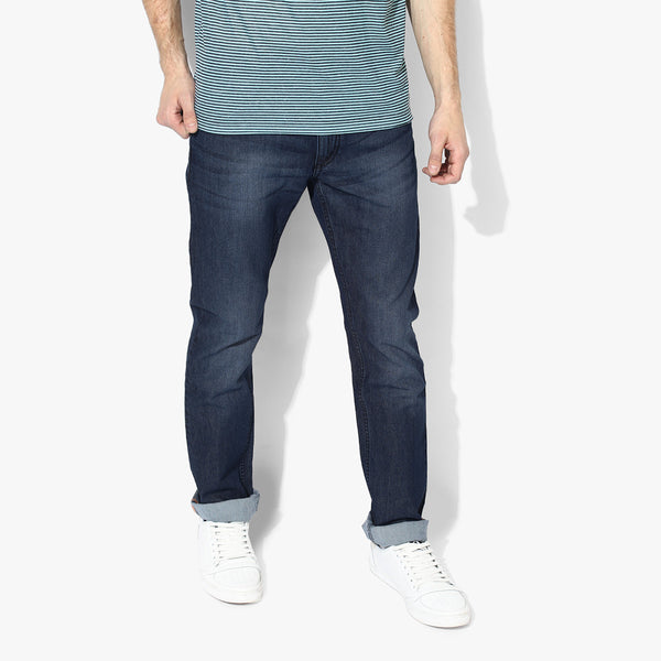 "Men's ""Zara"" Dark Blue Slim Fit Denim With Dirty Wash-ND19"
