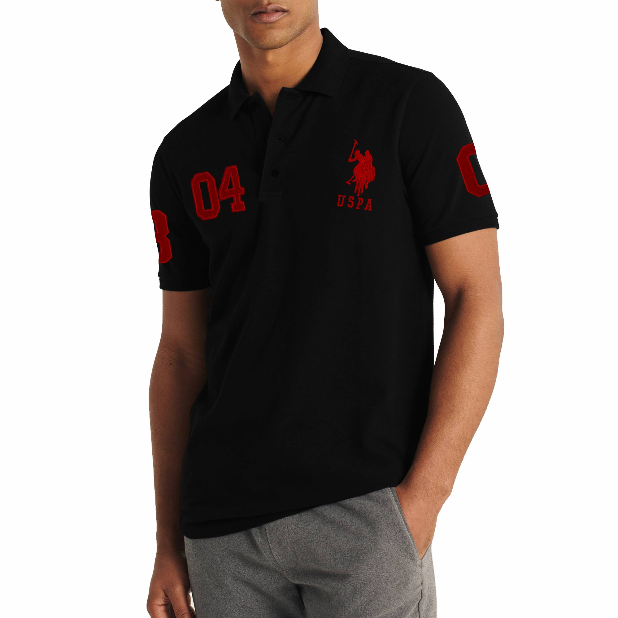 US Polo Muscle Fit Stylish Fashion Shirt For Men-Black With Red Embroidery-NA11106
