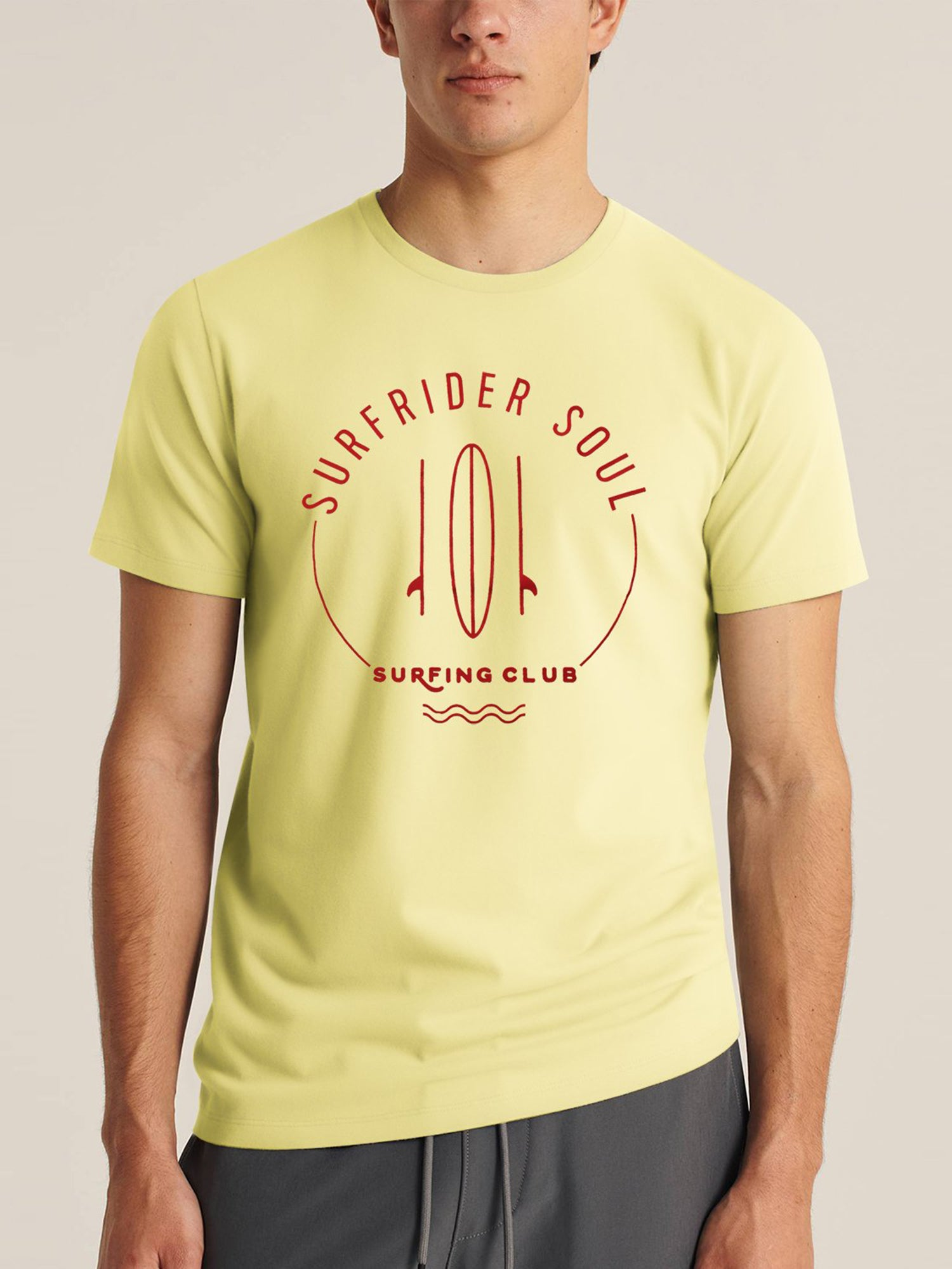 Surfing Club Stylish Summer Tee Shirt For Men-Light Yellow with Print-BE11371