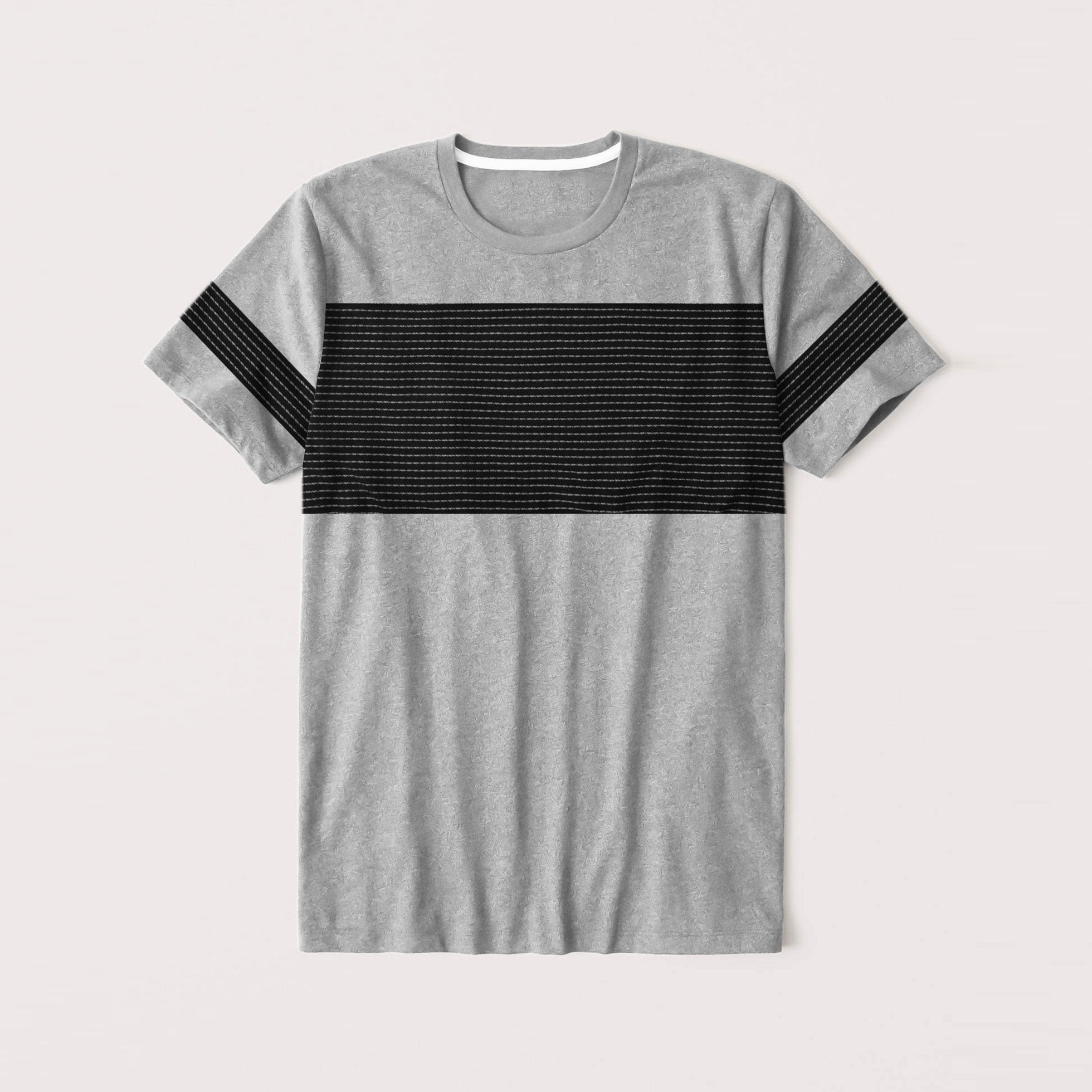 NK Summer Crew Neck Tee Shirt For Men-Grey Melange With  Black Panel-NA11681