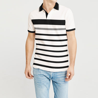 brandsego - Sneaker Freak Short Sleeve Single Jersey Polo Shirt For Men-Off White & Black Stripe-BE8452