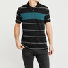 brandsego - Falls Creek Short Sleeve Single Jersey Polo Shirt For Men-Black & Multi Striper-NA8086