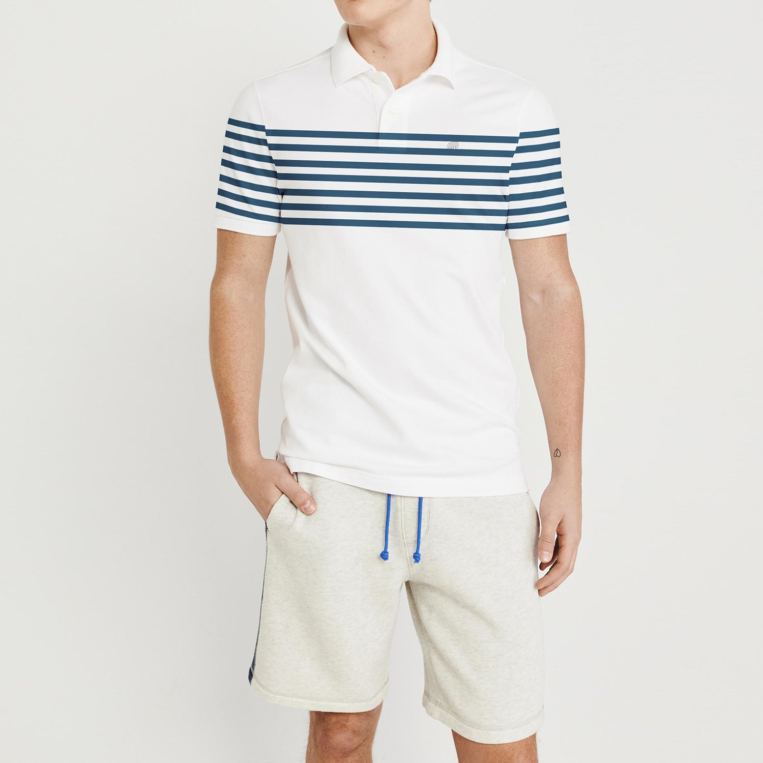 brandsego - Banana Republic Short Sleeve P.Q Polo Shirt For Men-White With Blue Stripes-NA8089