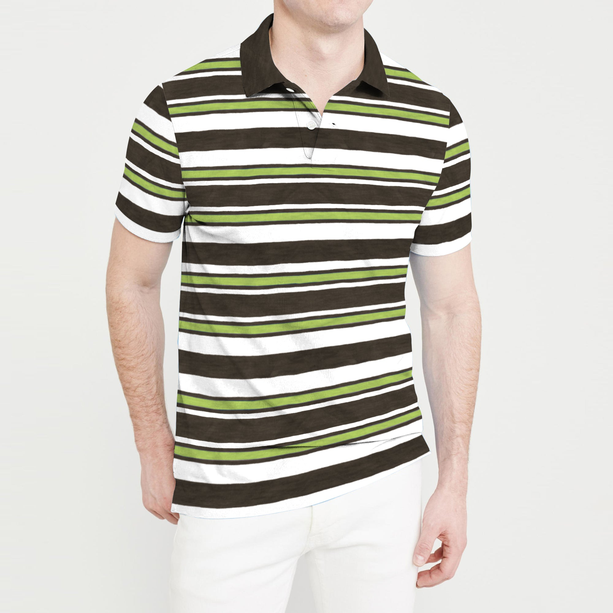 brandsego - The Modern Short Sleeve Single Jersey Polo Shirt For Men-Navy Stripe-BE8314