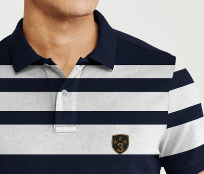 Banana Republic Short Sleeve P.Q Polo Shirt For Men-Dark Navy with White Stripe-BE8444