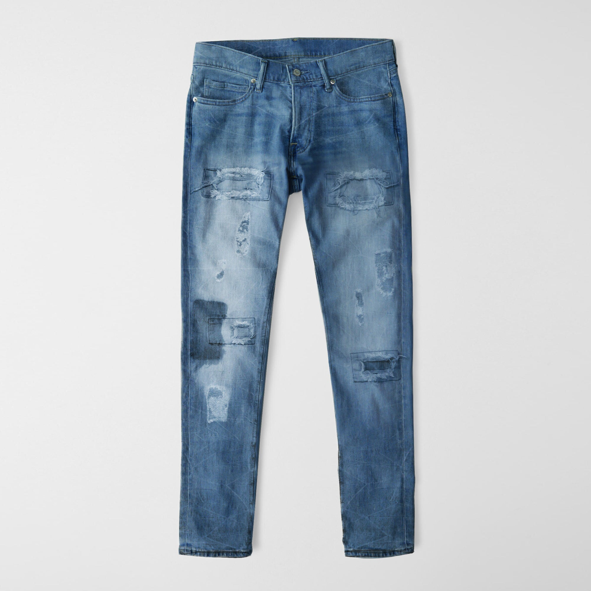 Nancy &Denim Cropped Slim Fit Non Stretch Grinded Denim For Men-(S29)-Blue Faded & Grinded-NA9412