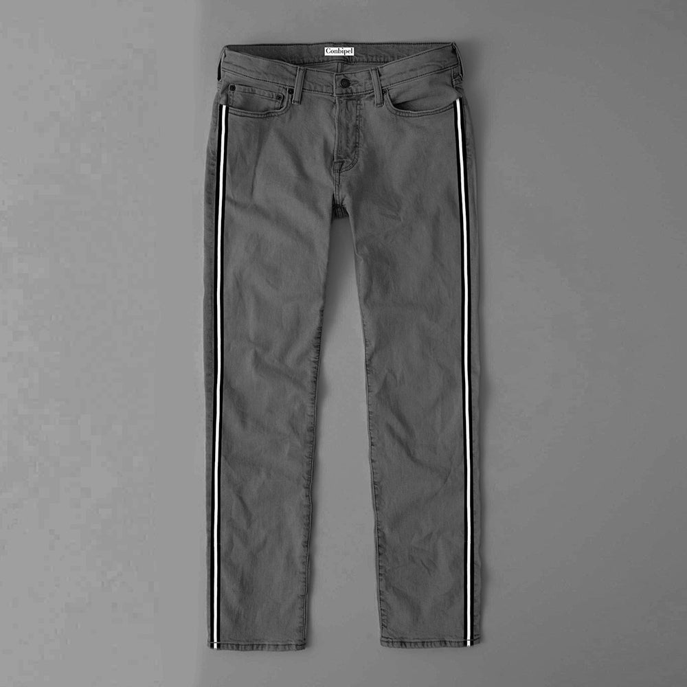 Conbipel Slim Fit Non Stretch Side Stripe Denim For Men-(S18)-Grey-NA9403
