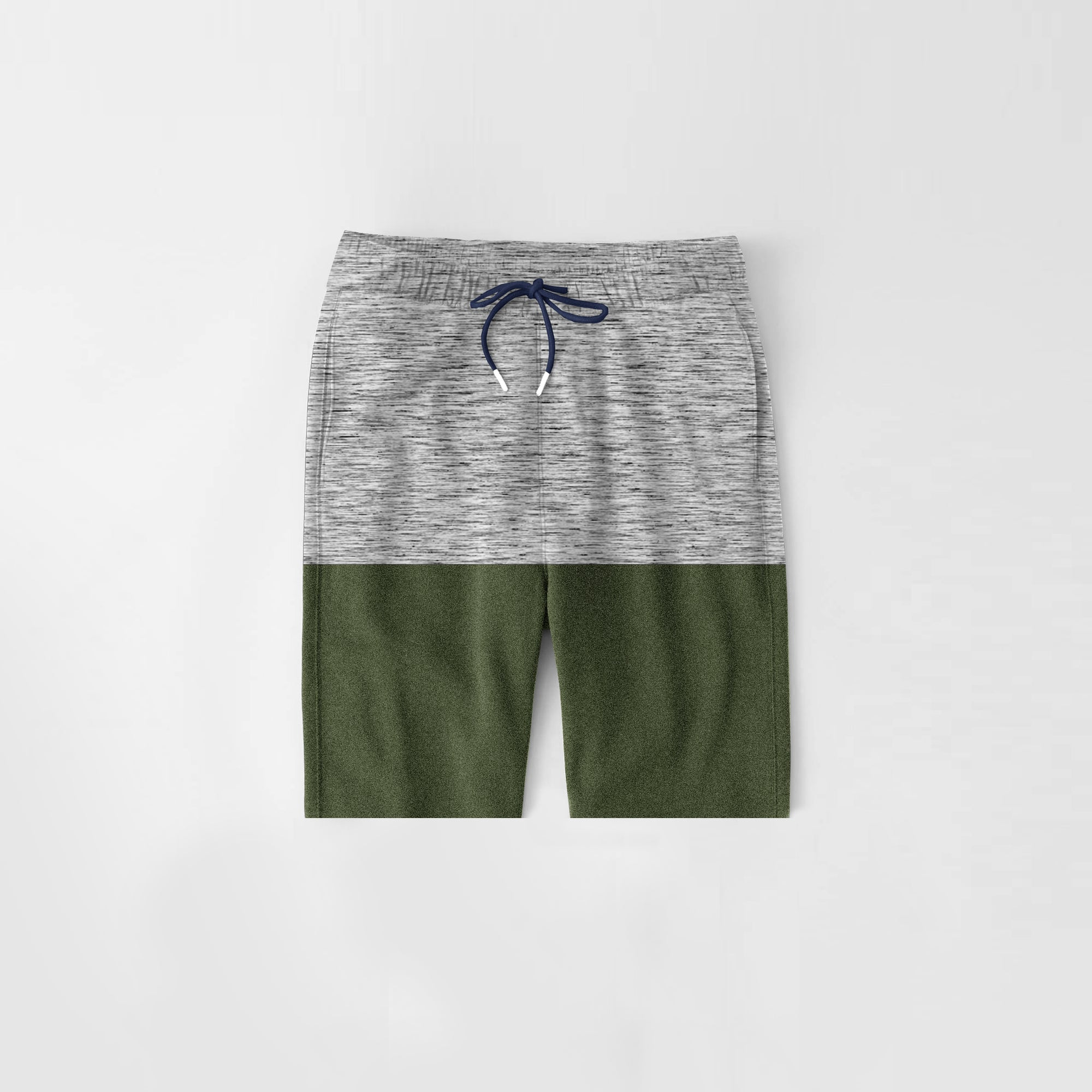 Diesel Summer Short For Kids-Grey Melange & Green Melange-NA11287