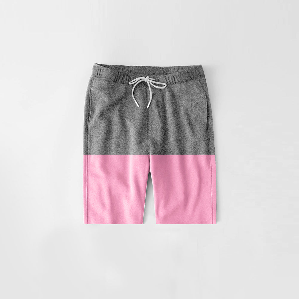 Diesel Summer Short For Kids-Dark Grey Melange & Baby Pink-NA11293