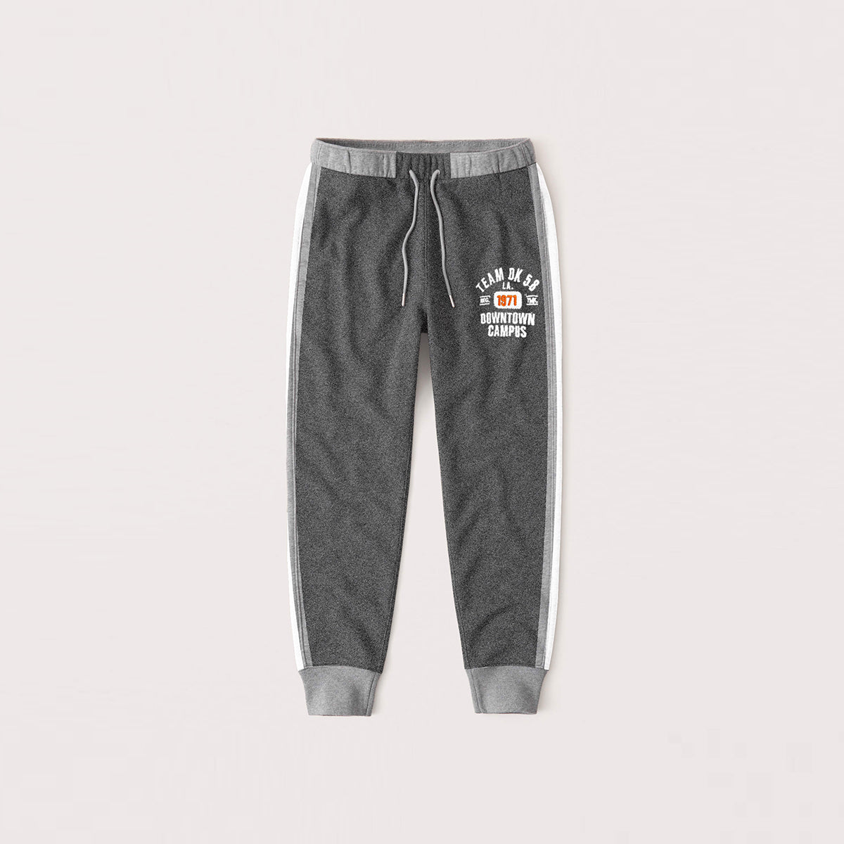 Red Pearl Slim Fit Fleece Jogger Trouser For Kids-Dark Grey Melange With Grey & White Stripe-NA12591