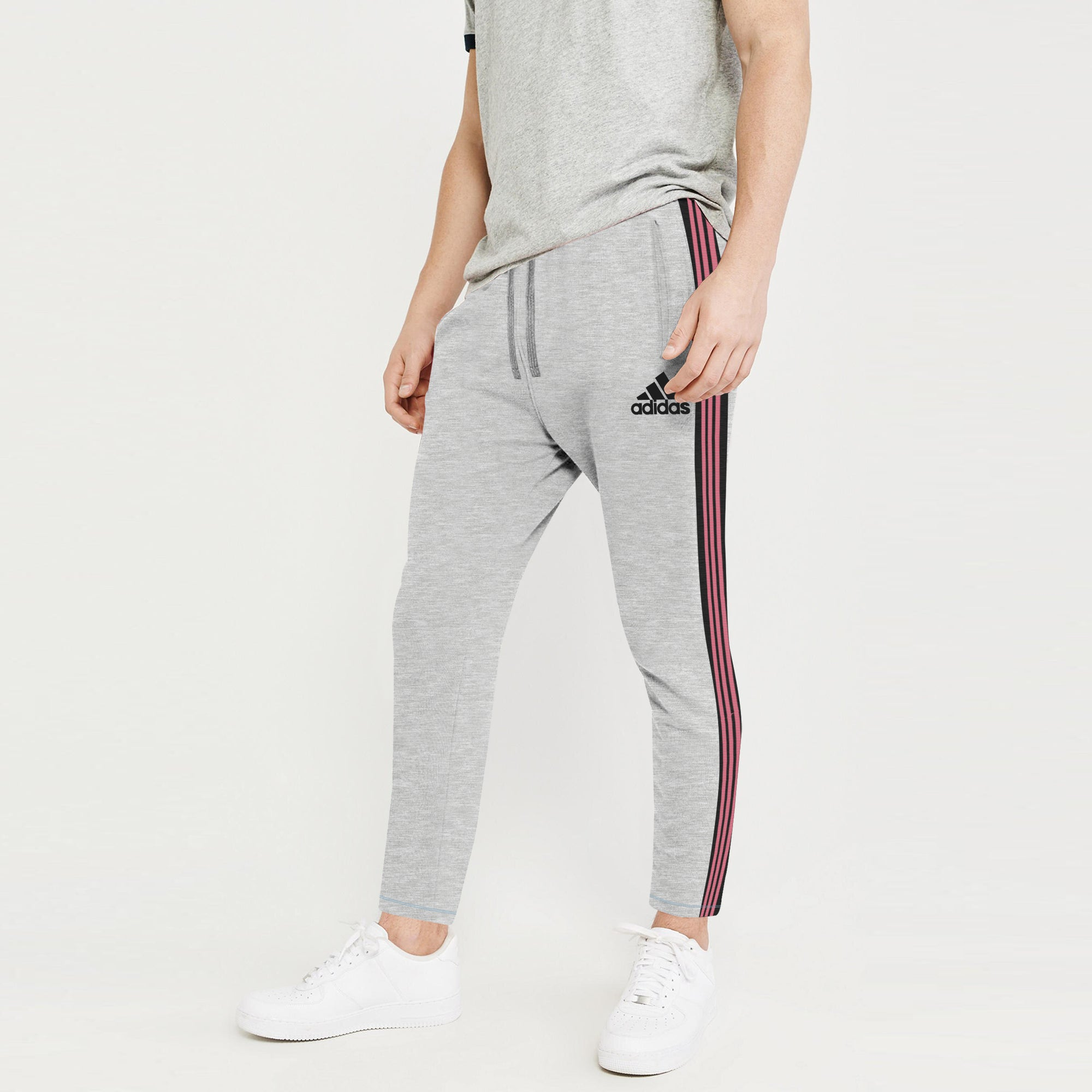 Adidas Single Jersey Regular Fit Jogger Trouser For Men-Grey With Charcoal & Red Melange Stripe-BE8791
