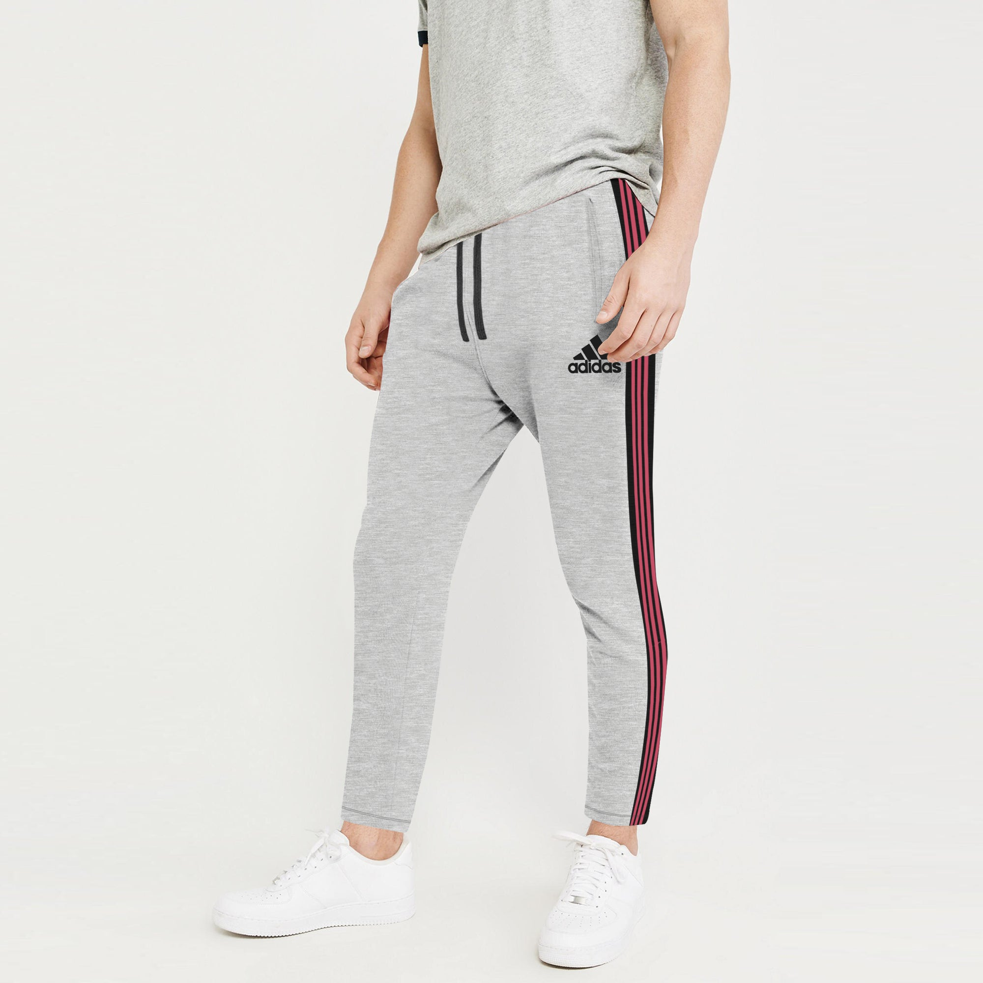 Adidas Single Jersey Regular Fit Jogger Trouser For Men-Grey With Charcoal & Pink Stripe-BE8786