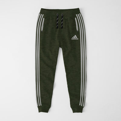 Adidas Single Jersey Slim Fit Jogger Trouser For Men-Dark Green Melange With Grey Stripes-NA8255
