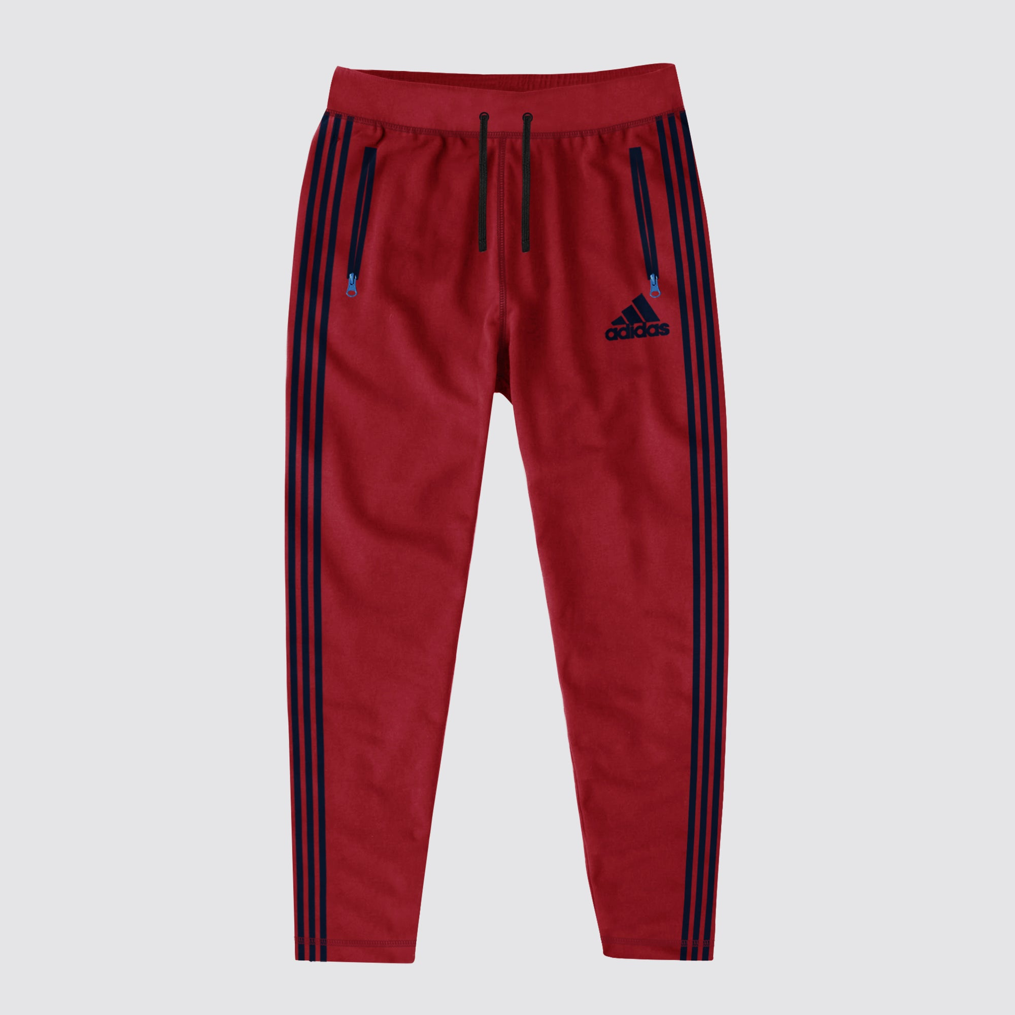 Adidas Single Jersey Regular Fit Trouser For Men-Red & Navy Stripe-BE8661