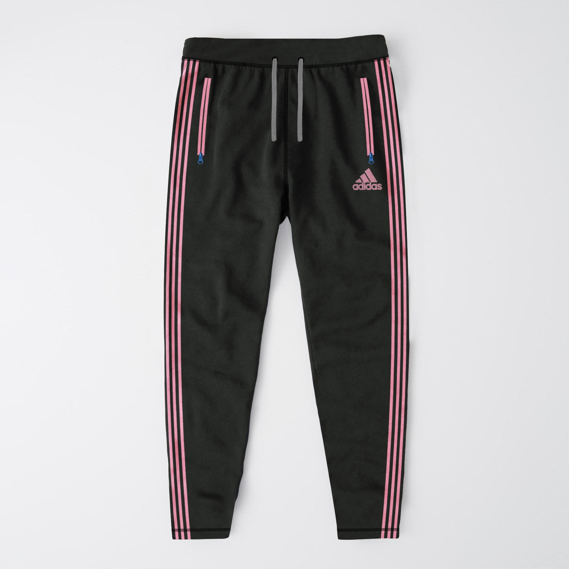 Adidas Single Jersey Regular Fit Trouser For Men-Rosy Black & Pink Stripe-BE8662